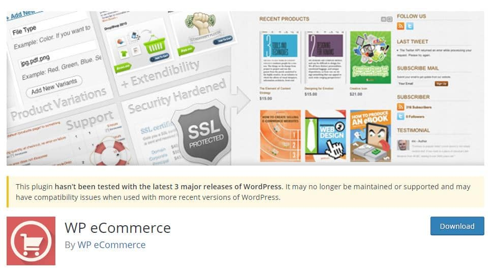 Plugin WP eCommerce en la Web oficial de WordPress