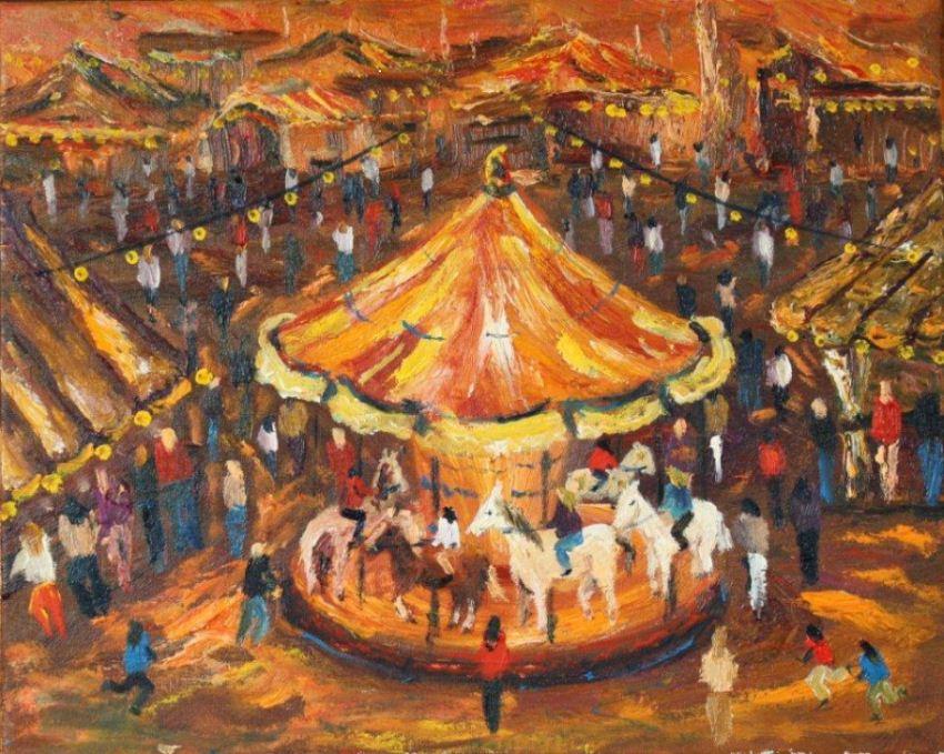 Pintura sobre carrusel de Toni Blanco Grané