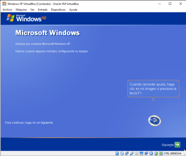 Windows XP en VirtualBox