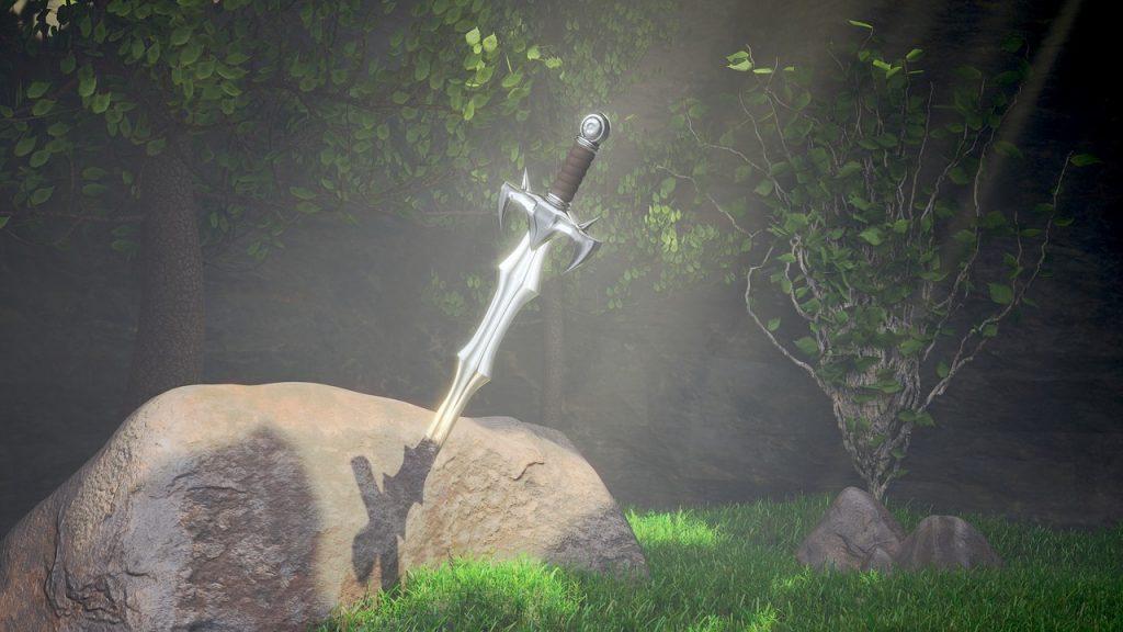 La leyenda de Excalibur y el Rey Arturo. Imagen de la espada clavada en la piedra